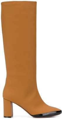 L'Autre Chose patent trimmed knee length boots