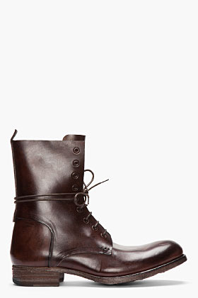Officine Creative Dark BRown Leather Culatta Lace-up boots