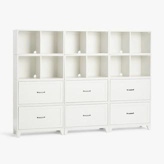 Pottery Barn Teen Hampton Triple 2-Shelf Tall Bookcase with Drawers