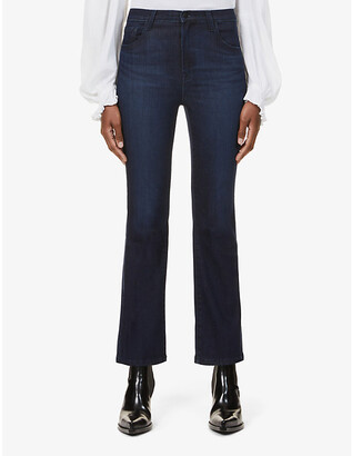 J Brand Franky cropped boot-cut high-rise jeans