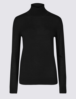 Marks and Spencer Pure Merino Wool Roll Neck Jumper