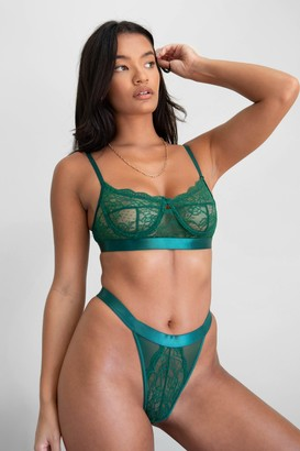Nasty Gal Womens Watch This Lace Satin Bralette and Panty Set - Emerald