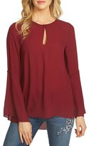 CeCe Bell Sleeve Light Weight Crepe Blouse