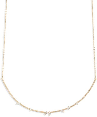 Nordstrom Fancy Cubic Zirconia Pave Bar Collar Necklace