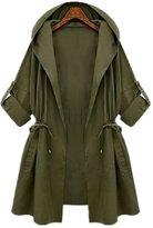 Taiduosheng Women's Plus size Hooded Drawstring Military Jacket Parka Coat
