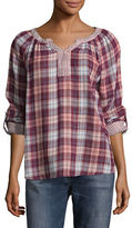Style And Co. Petite Boulder Plaid Roll-Sleeve Top