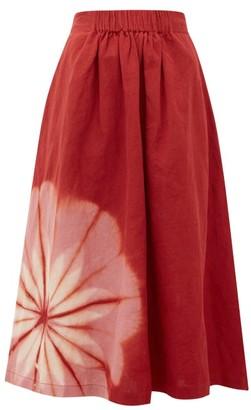 Story mfg. Todash Tie-dyed Organic Linen-blend Maxi Skirt - Burgundy Multi