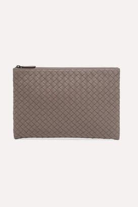 Bottega Veneta Intrecciato Leather Pouch - Gray