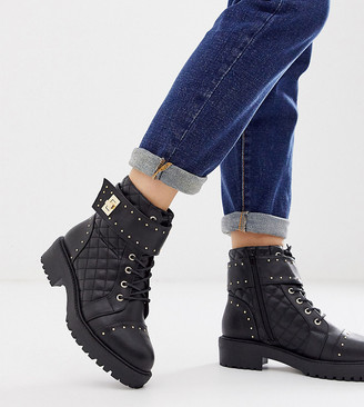 ASOS DESIGN Wide Fit Annabel studded lace up ankle boots in black