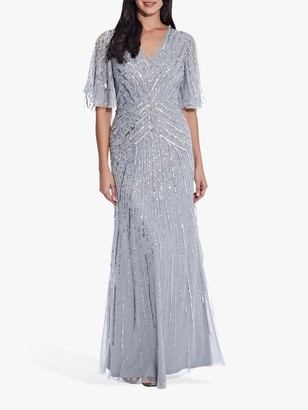 Adrianna Papell Flutter Beaded Gown Dress, Silvermist