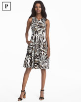 White House Black Market Petite Palm Print Fit-and-Flare Dress