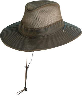 Dorfman Pacific Men Weathered Big-Brim Mesh Safari Hat
