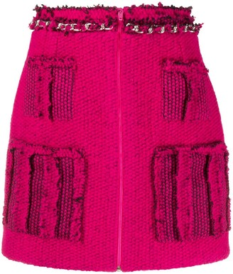 Loulou Frayed Knitted Mini Skirt