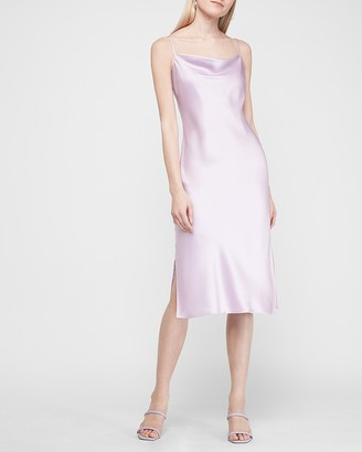 Express Satin Cowl Neck Midi Slip Dress