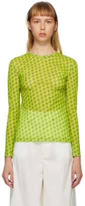 Rokh Green Mesh Logo Long Sleeve T-Shirt
