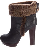 Tory Burch Fur-Trimmed Leather Ankle Boots