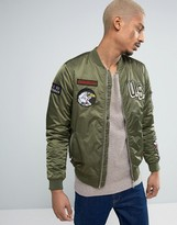 Pull&bear Ma1 Bomber Jacket With Patches In Khaki