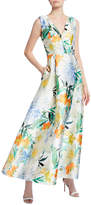 Kay Unger New York Printed V-Neck Sleeveless Mikado Gown with Pockets