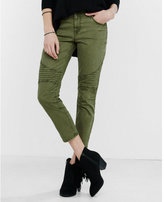 Express olive mid rise cropped moto leggings