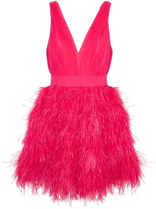 Alice + Olivia Tegen feather and tulle mini dress