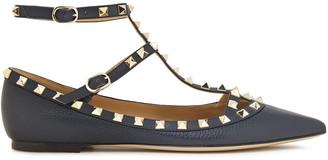 Valentino Rockstud Pebbled-leather Point-toe Flats