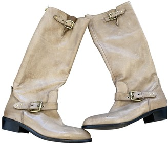 Non Signé / Unsigned Non Signe / Unsigned Beige Leather Boots