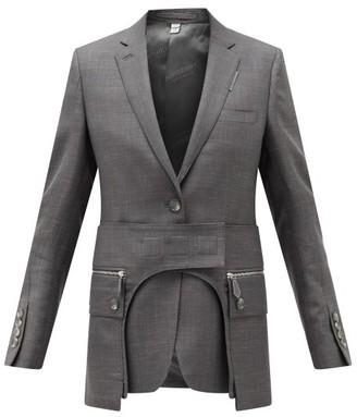 Burberry Single-breasted Cutout Wool-blend Jacket - Womens - Dark Grey