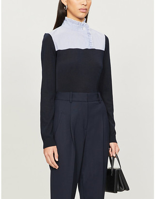 Claudie Pierlot Frill-trimmed high-neck wool-blend top