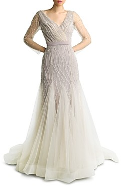 Basix II Embroidered Tulle Gown