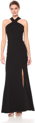 Jenny Yoo Women's Kayleigh Cross Front Fitted Crepe Long Gown