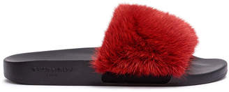 Givenchy Dark red mink slide flats