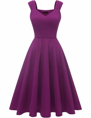 DRESSTELLS Women's 50s Bridesmaids Vintage Party Retro Sleeveless V-Neck Cocktail Tea Swing Dress Blush 3XL