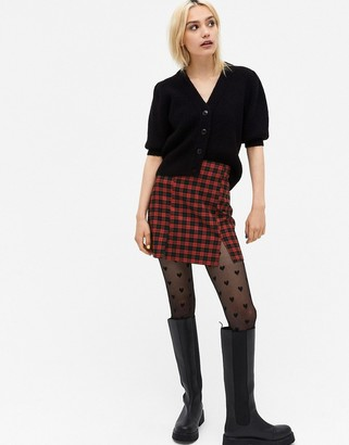 Monki Renata check mini skirt in black and red