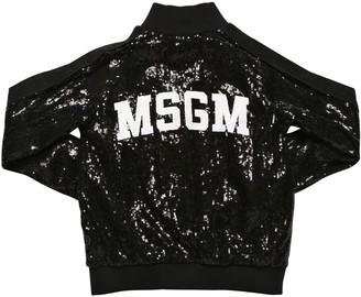 MSGM Sequined Zip-up Sweatshirt