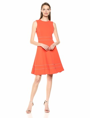 Calvin Klein Women's Sleeveless Round Neck Fit and Flare Dress with Embellishment