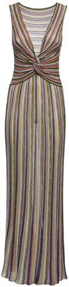 M Missoni Striped Knit Lurex Long Dress