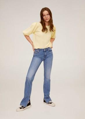 MANGO Puffed sleeves crop sweater pastel yellow - S - Women