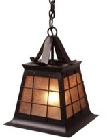 Mica Top Ridge 1-Light Outdoor Pendant Steel Partners Finish: Rust, Shade Type: Amber Mica, Size: Small