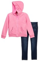 Hudson Burnout Acid Wash Hoodie & Jeggings Set (Toddler Girls)