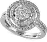 Effy Final Call Diamond Double Halo Ring (3/4 ct. t.w.) in 14k White Gold