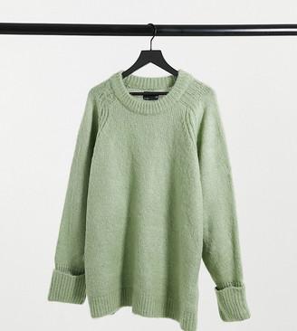 ASOS DESIGN Curve oversized brushed yarn jumper in sage