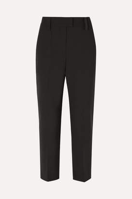 Brunello Cucinelli Cropped Bead-embellished Cady Straight-leg Pants - Black