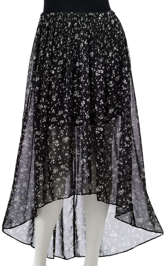 Lauren Conrad floral hi-low chiffon skirt