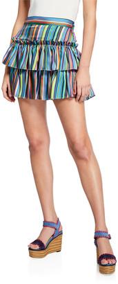Milly Rainbow Stripes Tiered Twill Mini Skirt