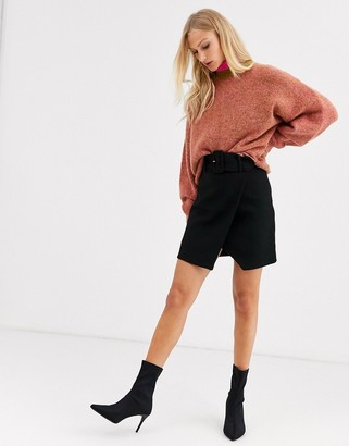 And other stories & wrap front mini skirt with belt detail in black