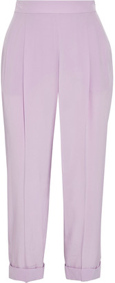 Emilio Pucci Cropped Pleated Silk Crepe De Chine Tapered Pants
