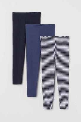 H&M 3-pack Jersey Leggings - Blue