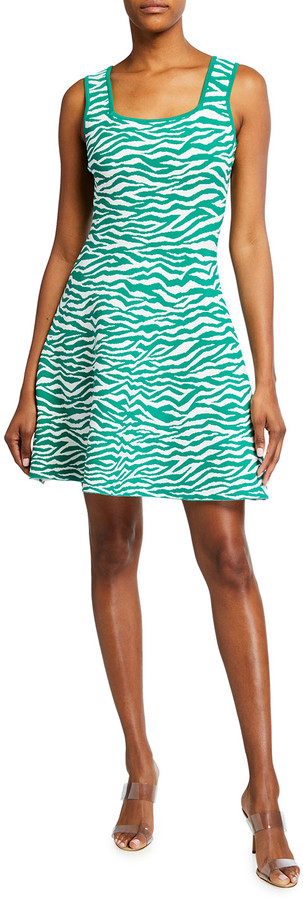 Milly Abstract Zebra Sleeveless Fit-&-Flare Short Dress
