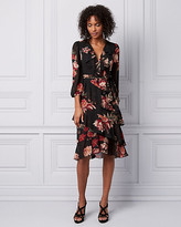 Le Château Floral Print Chiffon Wrap-Like Dress