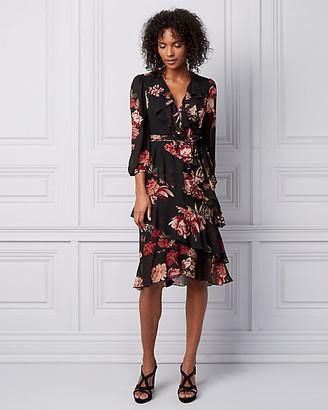 Le Château Floral Print Chiffon Wrap-Like Dress